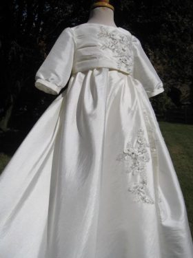 Girl's Modern Christening Gown from a Wedding Dress by Little Doves - Abi