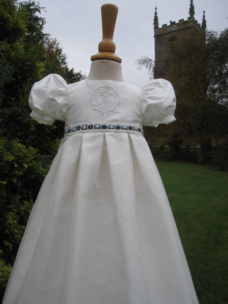 Celtic Silk Christening Gown with Tartan trim - Patricia by Little Doves