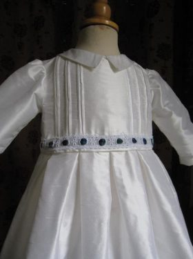 Convertible Christening Gown & Romper with Tartan trim by Little Doves