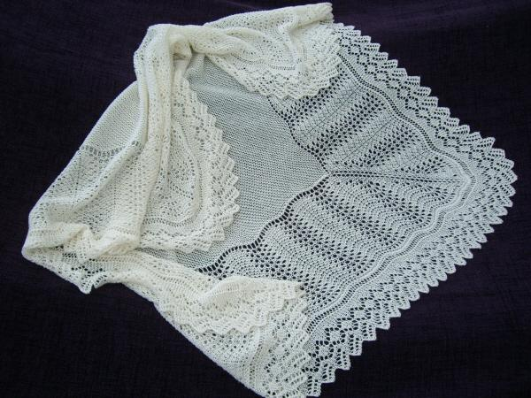 Square Christening Or Baptism Shawl Hand Knitted In England
