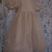 Silk Christening Dress 3/4 view by Little Doves