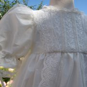 Victorian Style Lace Christening Gown Side View from Little Doves