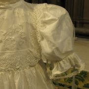 Heirloom Lace Christening Gown sleeve by Little Doves