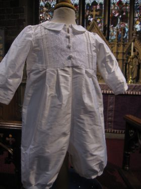White Catholic Christening Romper for Boys - Little Doves
