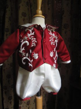 Boys Christening Outfit - Red outfit by Little Doves