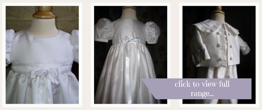 three baptism gowns