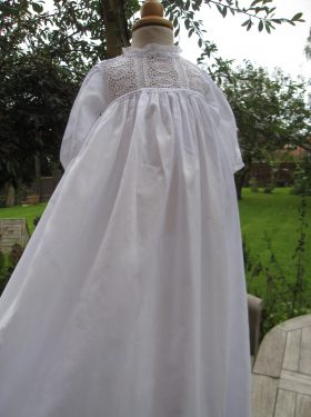 Lace Edwardian Christening Gown 3/4 View from Little Doves