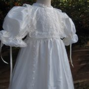 Front opening Baptism Gown -side view - by Little Doves
