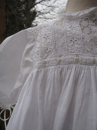 Edwardian long sleeved Christening Gown bodice
