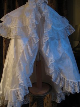 Silk Baptism Cape with lace trim by Little Doves