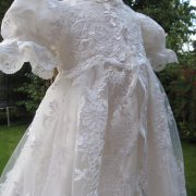 Girls lace Christening Gown with a silk undergown by Little Doves
