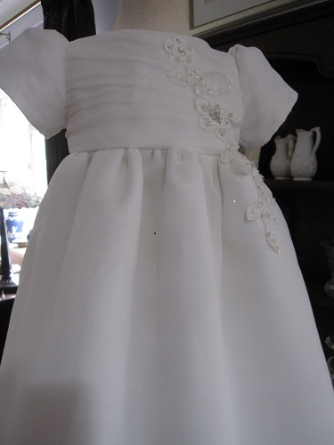 satin Christening Gown from a Wedding Dress - Little Doves