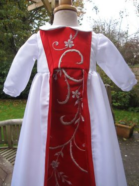 Embroidered Christening Gown made from a wedding dress by Little Doves