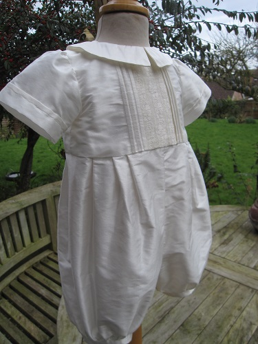 Silk Christening Romper for Boys - Little Doves