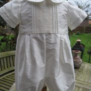 Silk Christening Romper for Boys - Little Doves - George